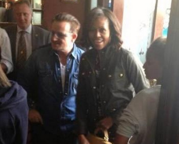 First lady Michelle Obama and her daughters had lunch with U2 rock star Bono at a pub in Dalkey, just south of Dublin, Ireland, on June 18, 2013.